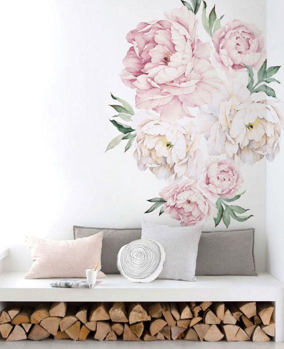 Peony Flowers Wall Sticker, Vintage Watercolor Peony Wall