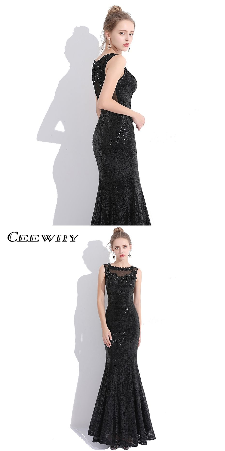 CEEWHY Luxury Embroidery Sequined Prom Dresses Mermaid Evening Dresses  Black Evening Gown Robe De Soiree Real 5a7914a5b655