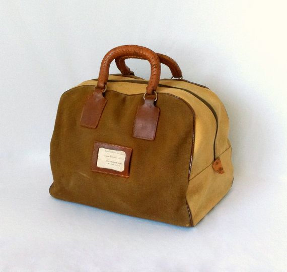 Vintage Canvas Bowling Ball Bag Leather Handles Brown And Tan Heavy Fabric Carrying Case Rugged Overnight Bag Sport Bowling Ball Bags Bags Vintage Canvas