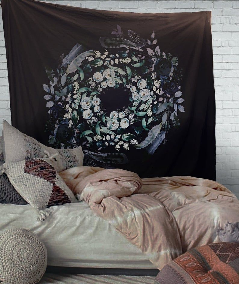 Navy Floral Wreath Mandala Tapestry Wall Hanging Meditation Etsy Mandala Tapestry Mandala Tapestries Wall Hangings Tapestry Wall Hanging