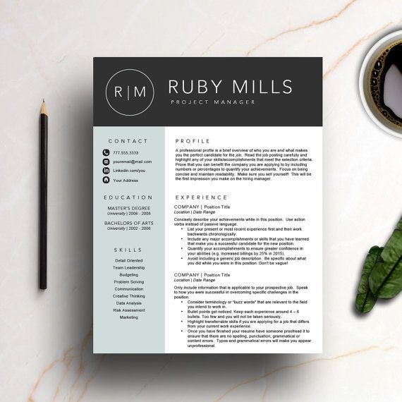 Creative Resume Template for MS Word 100 customizable and easy to