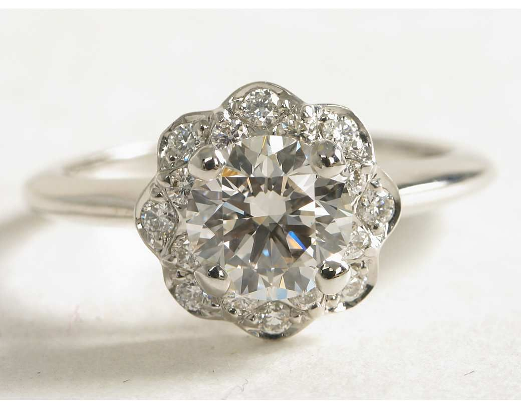 Floral Halo Diamond Engagement Ring In 14k White Gold 1 10 Ct Tw Blue N Halo Diamond Engagement Ring Wedding Rings Engagement White Gold Engagement Rings