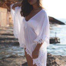 895c3a0e0a CALOFE 2019 Sexy Pareo Women Beach Cover Up Swimwear Lace Crochet Beach  Tunic Summer Beach Wear Solid Bikini White Brief