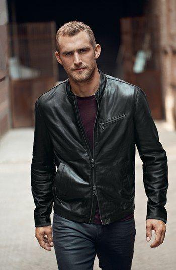 John Varvatos Star USA Mens Band Collar Leather Jacket