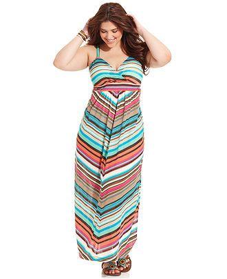American Rag Plus Size Dress Sleeveless Striped Maxi Plus Size