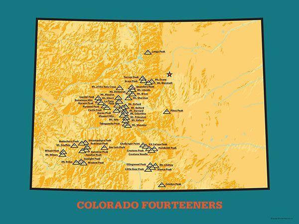 58 Colorado 14ers Map 18x24 Poster | Peak-Bagging | Colorado hiking ...
