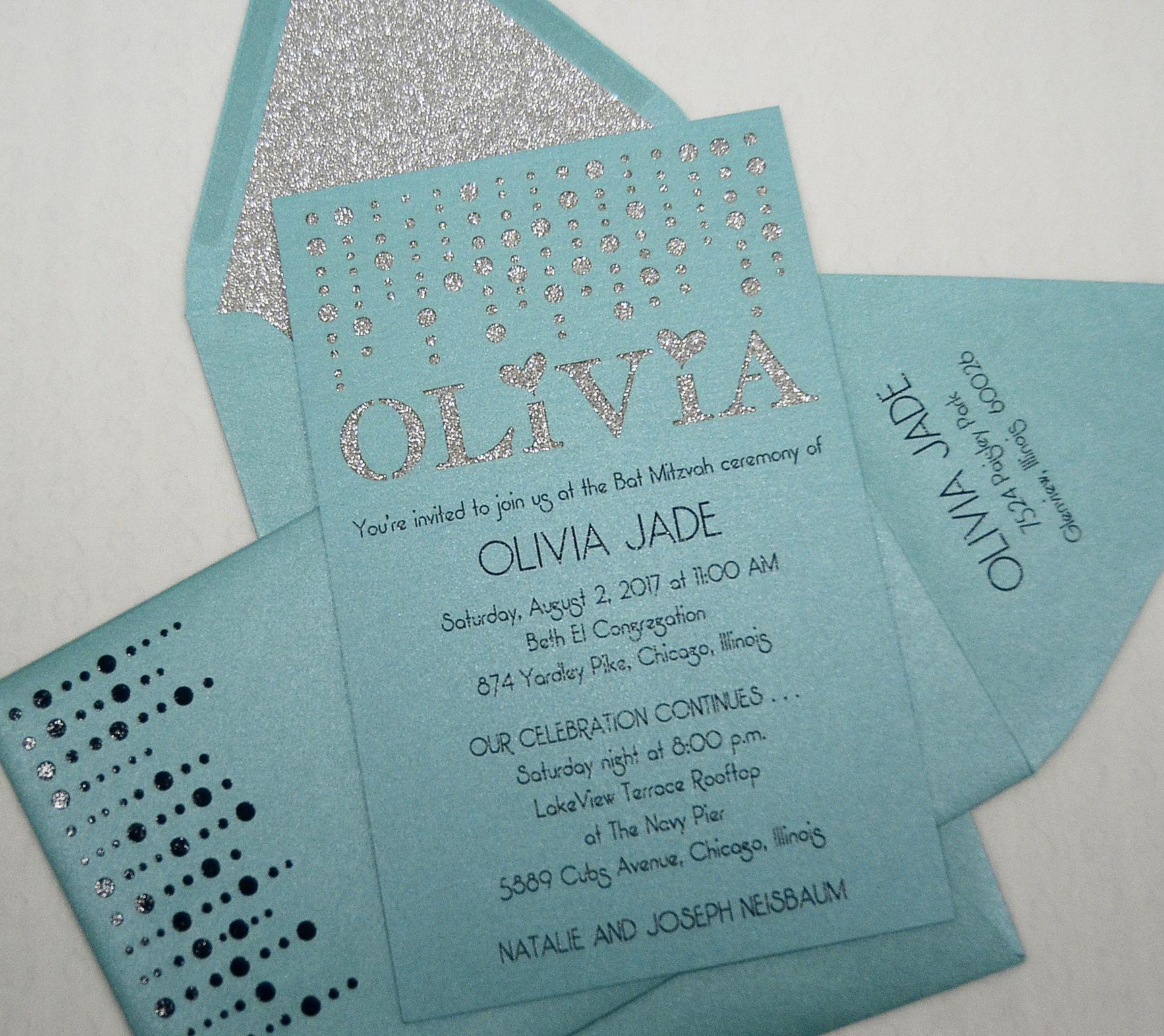 glittery bat mitzvah invitation from small fry press www
