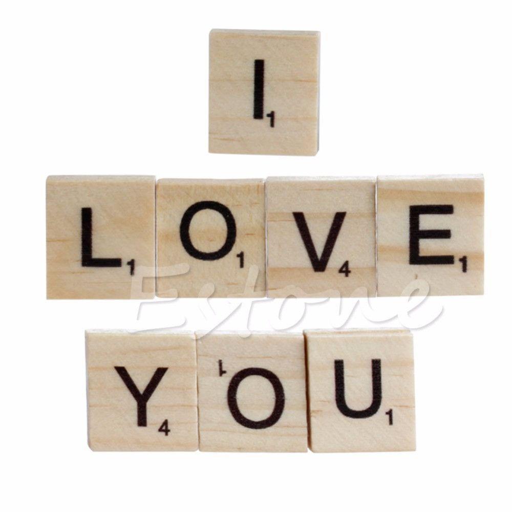 Pcs Wooden Alphabet Scrabble Tiles Black Letters  Numbers For