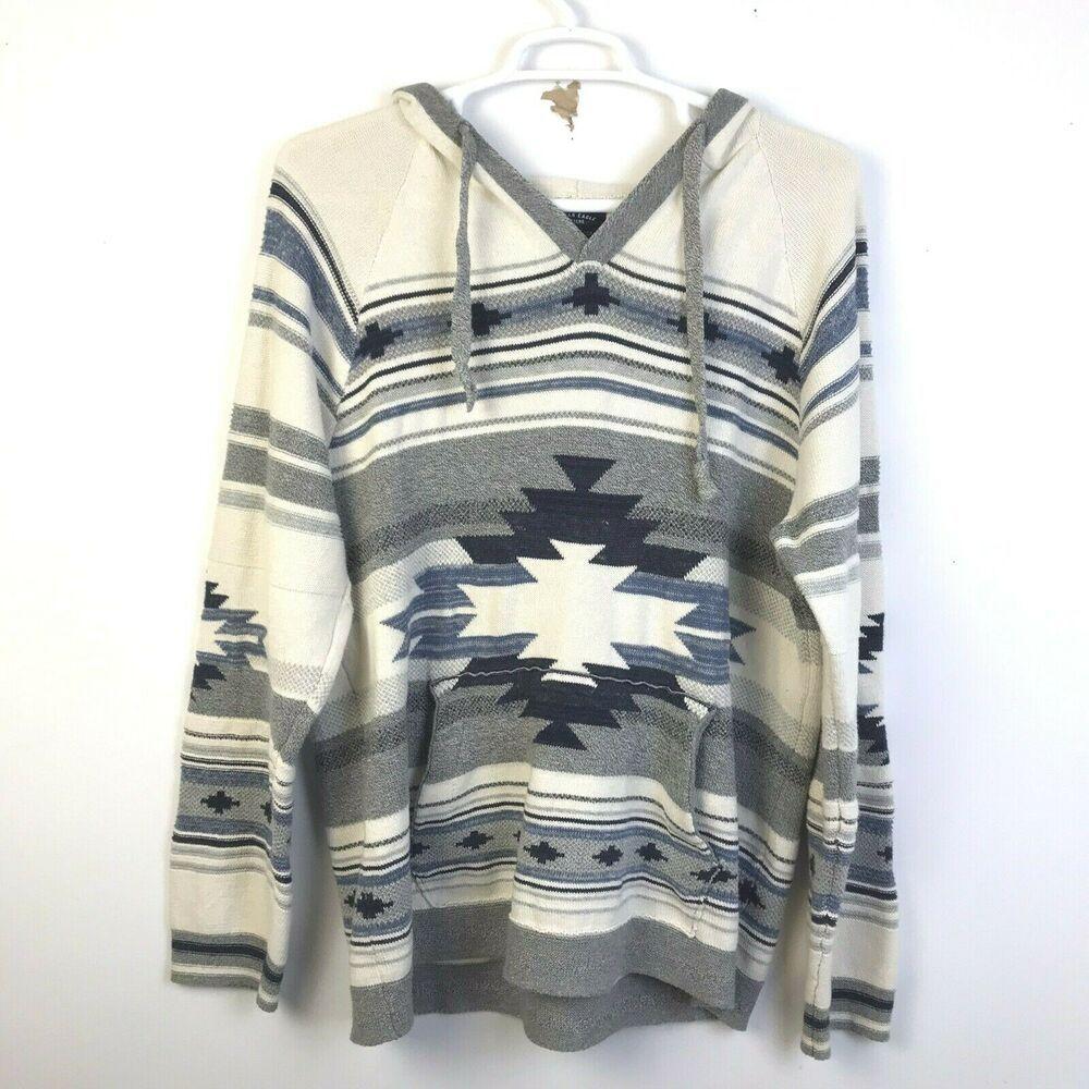 American Eagle Baja Hoodie Sweater Southwestern Aztec Men