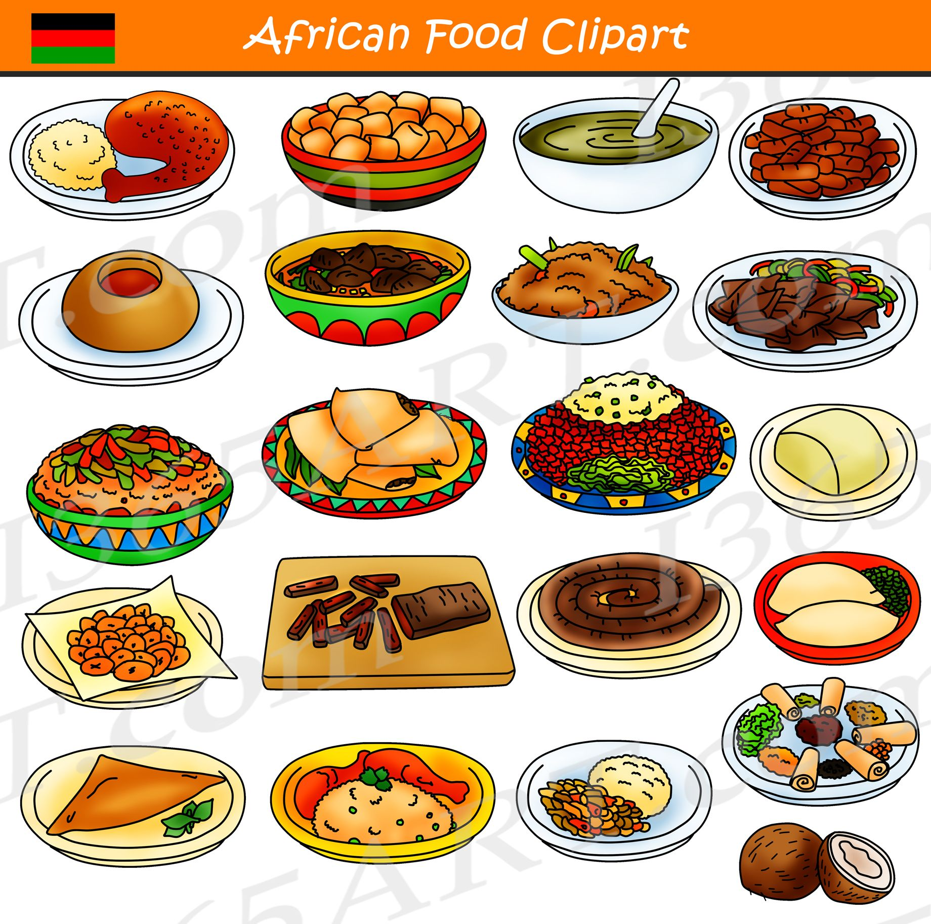 African Food Clipart Commercial Download  Food Clipart -9237