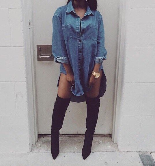 83df9d0b Oversized denim button up and black thigh high (otk boots ...