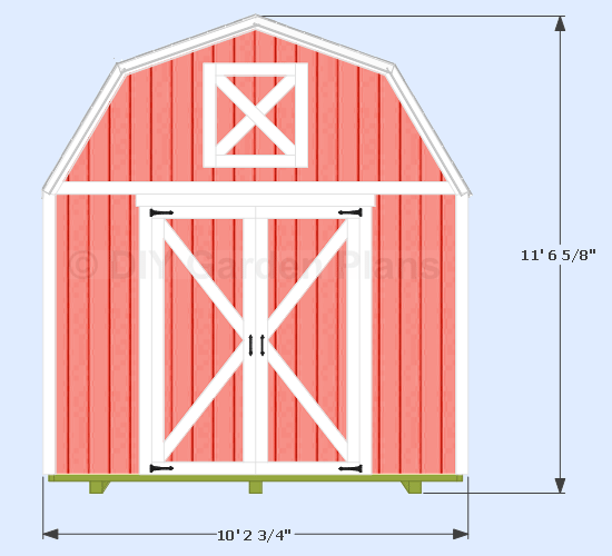 10x12 Gambrel Shed Front View Shedplans In 2020 Shed Plans Diy Shed Plans 10x10 Shed Plans