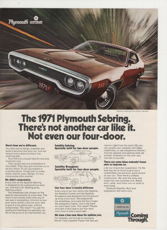 =-=1971 Plymouth Sebring Advertisement from 1970 Magazine