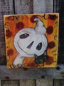 Halloween Ghost Cat Folk Art Painting Original Whimsy Art OOAK A Gambrel | eBay