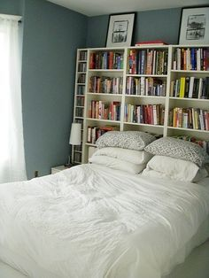 Various billy bookcases with bed shoved up to it. I want a bookshelf  headboard.