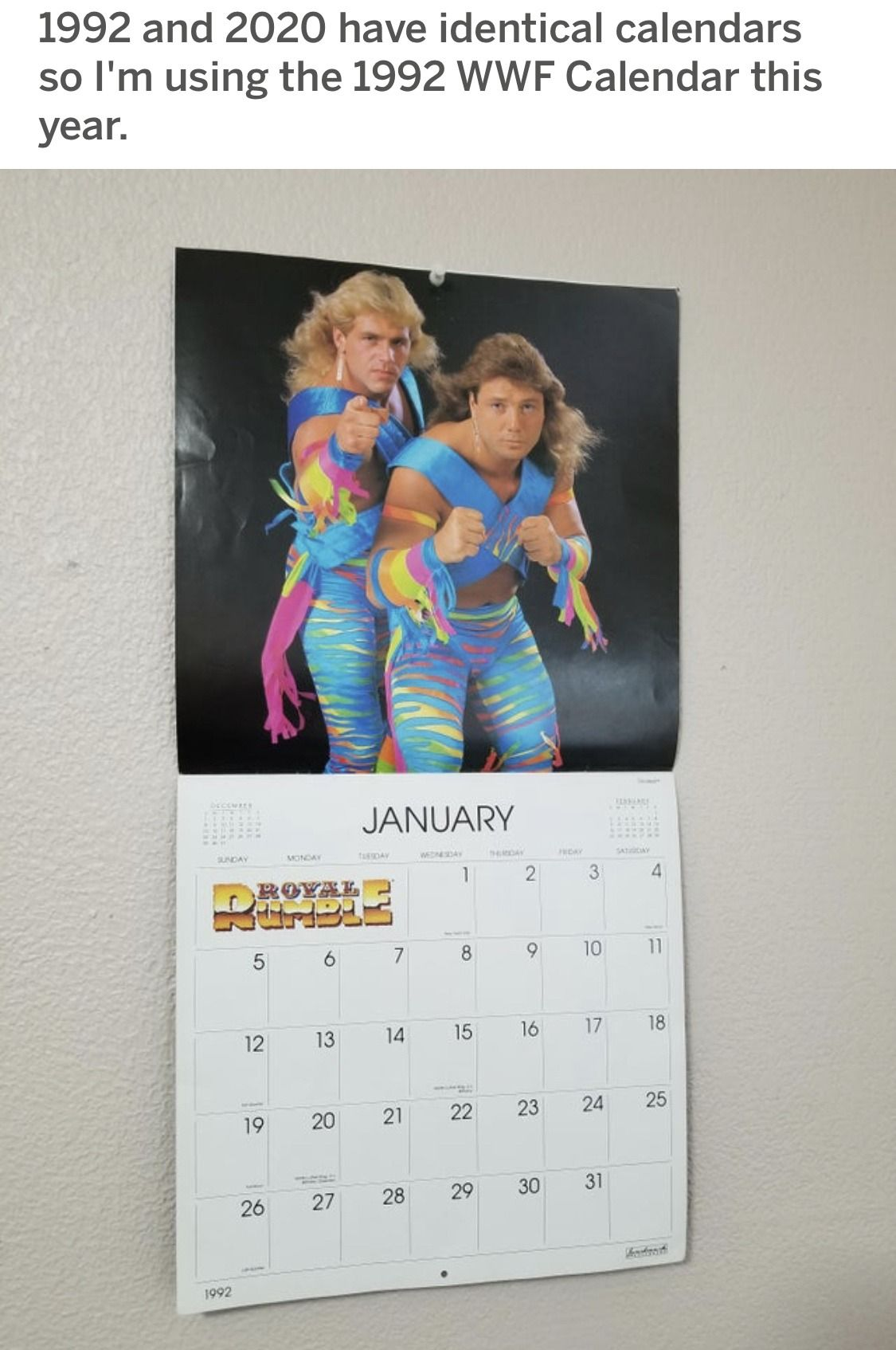 1992 2020 Wwf New Year Funny Wrestling Calendar In 2020 With