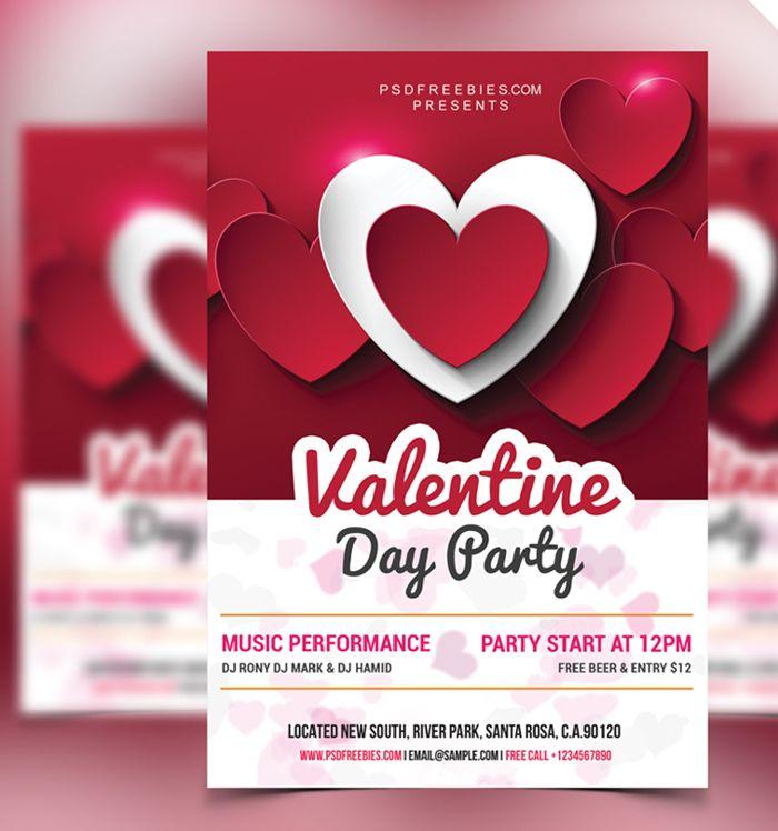 Valentine Day Party Flyer Free Psd Flyer Templates Pinterest