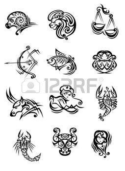 9097209b15398 capricorn zodiac sign: Tribal black and white vector doodle sketch zodiac  signs Illustration