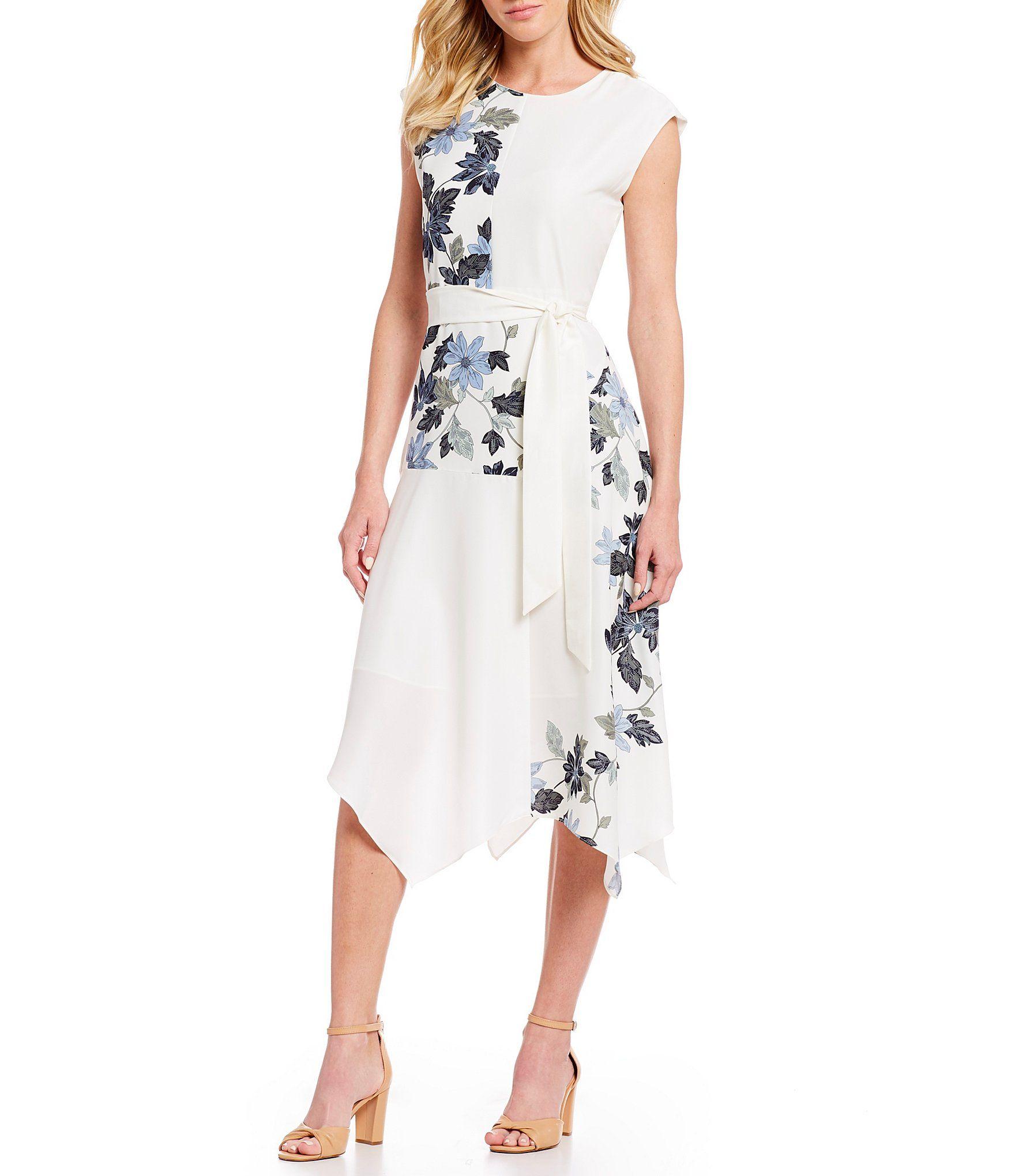 aee77d407af Vince Camuto Cap Sleeve Floral Print Asymmetrical Hem Belted Midi Dress   Dillards