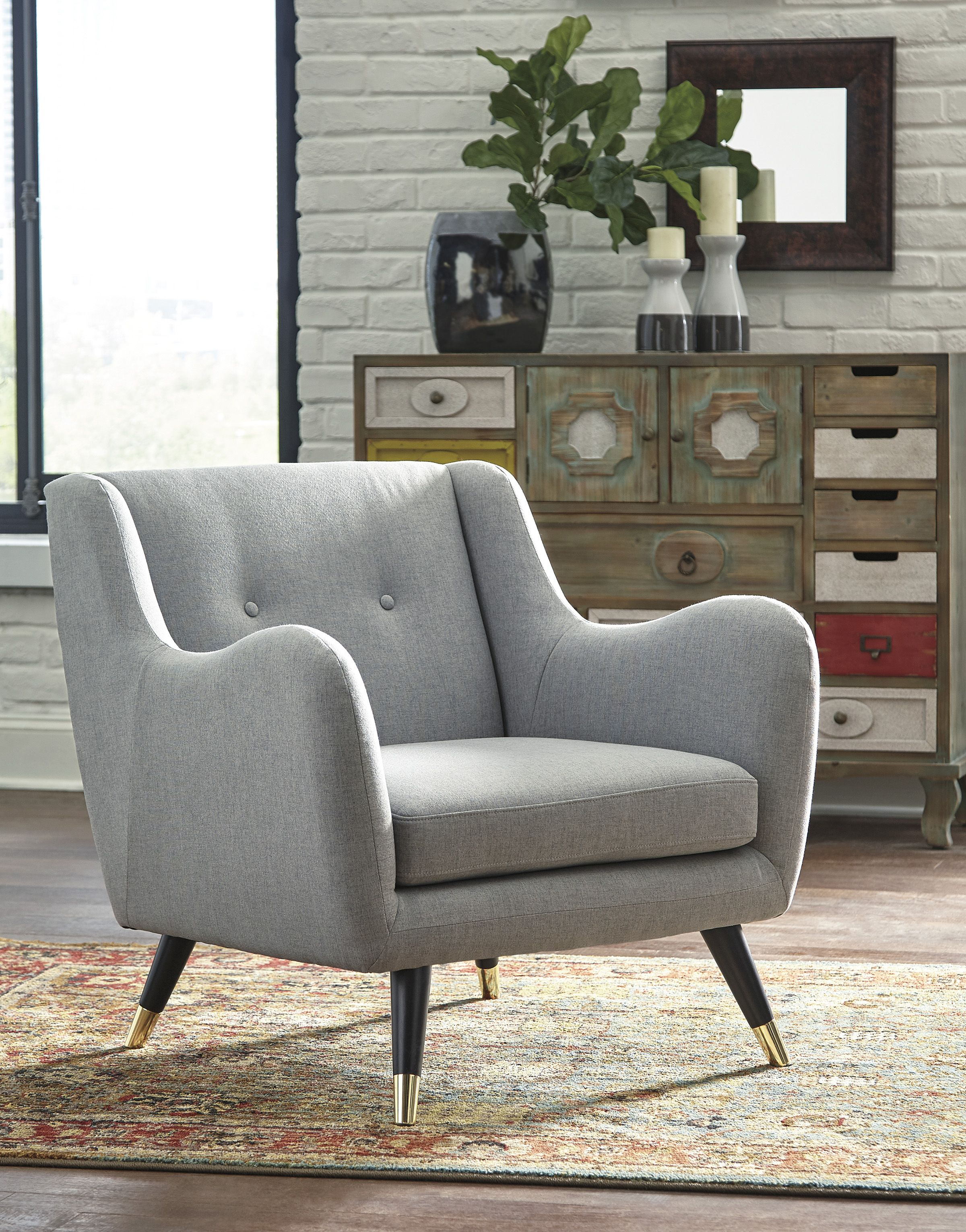 Phenomenal Accent Chair Mid Century Modern Mood Furniture Grey Inzonedesignstudio Interior Chair Design Inzonedesignstudiocom