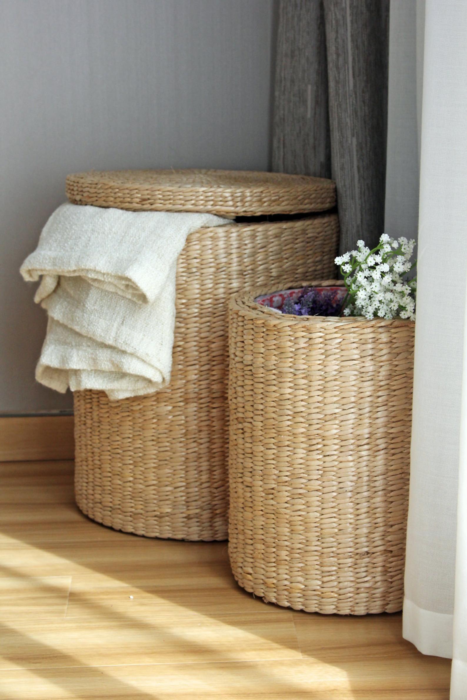 Handwoven Round Laundry Hamper Storage Basket Straw Basket Storage