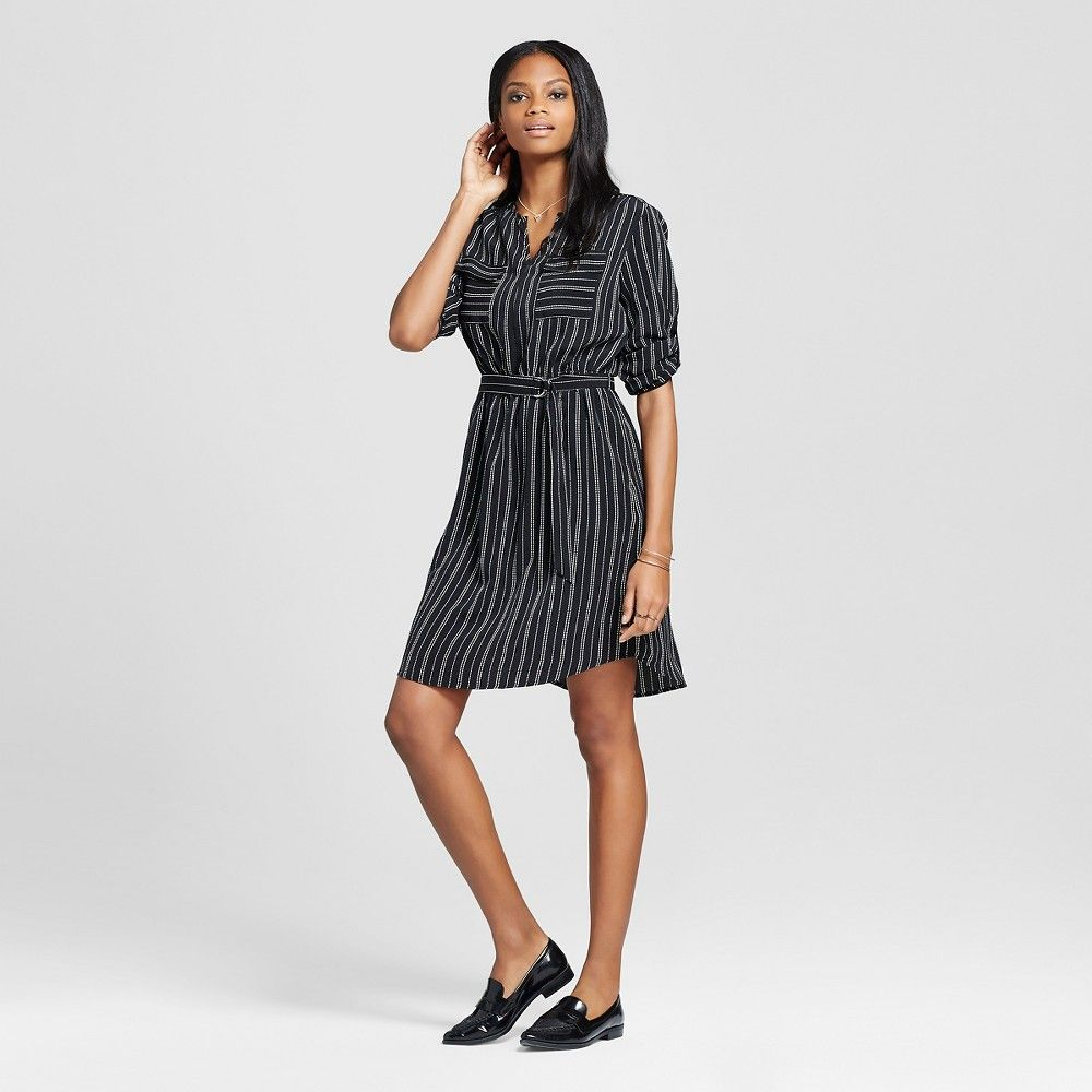 Womenus striped convertible sleeve dress black u white xs mossimo