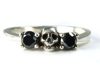 Black Diamond Skull Engagement Ring Sterling by KipkalinkaJewels
