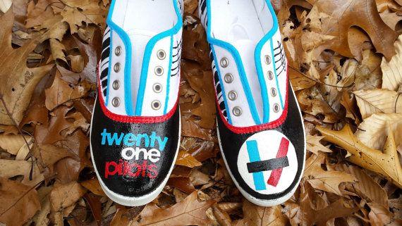 Twenty One Pilots 21 Painted Canvas Shoes Fan Art by fcwhimsey