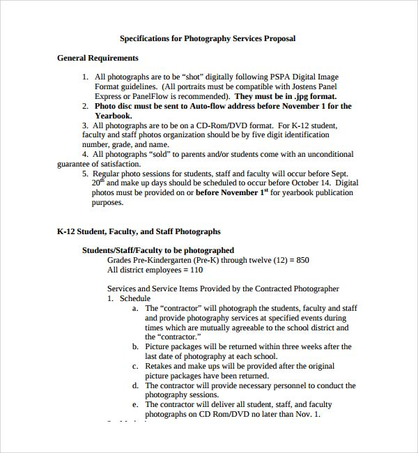 Sample Photography Proposal Template - 9+ Free Documents in PDF - bid proposal sample