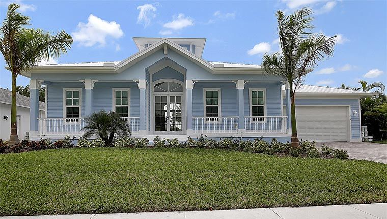 Florida Style House Plan 60557 With 3 Bed 2 Bath 2 Car Garage Florida Home Florida House Plans House