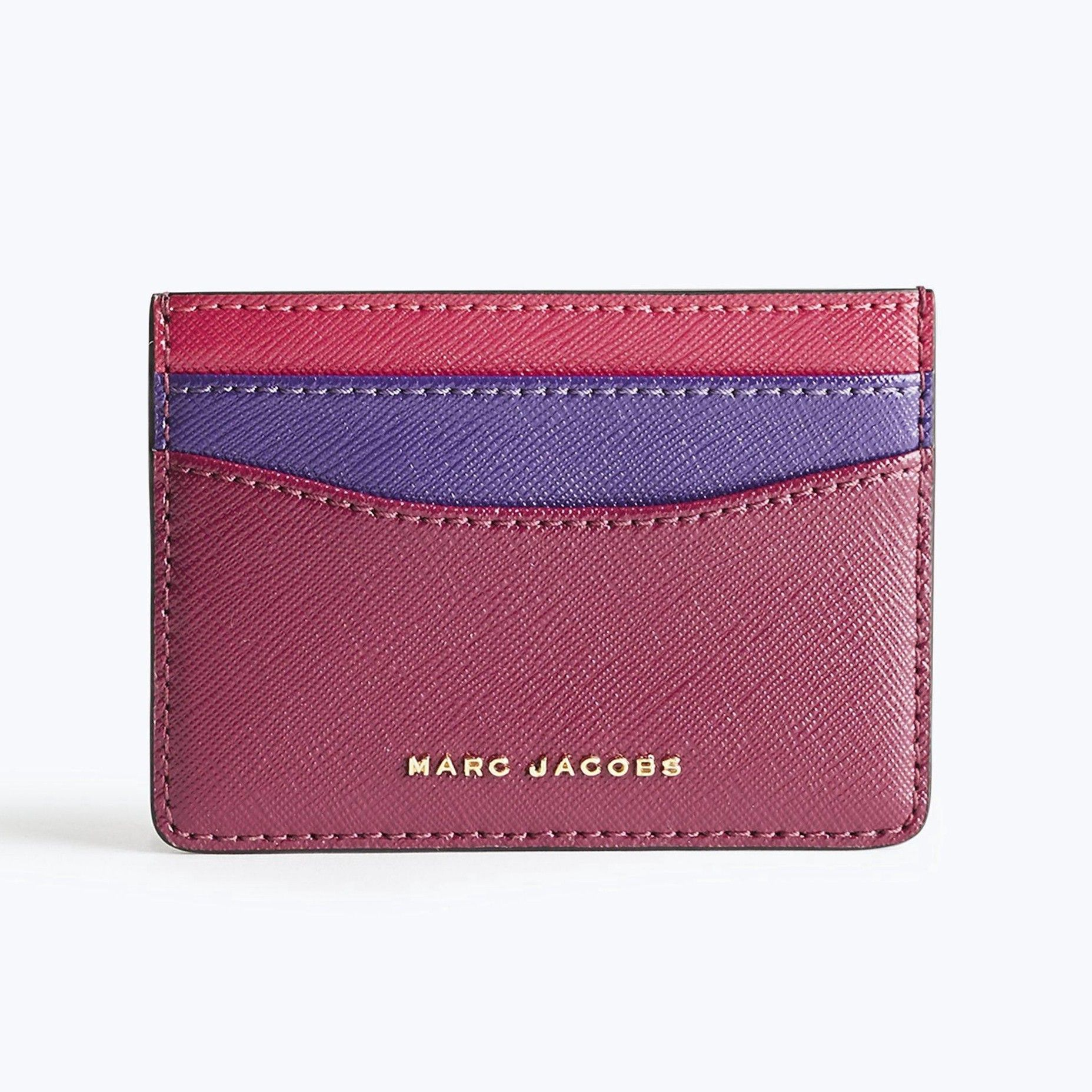 Color Block Saffiano Leather Card Case, Berry Multi/Gold | Pinterest ...