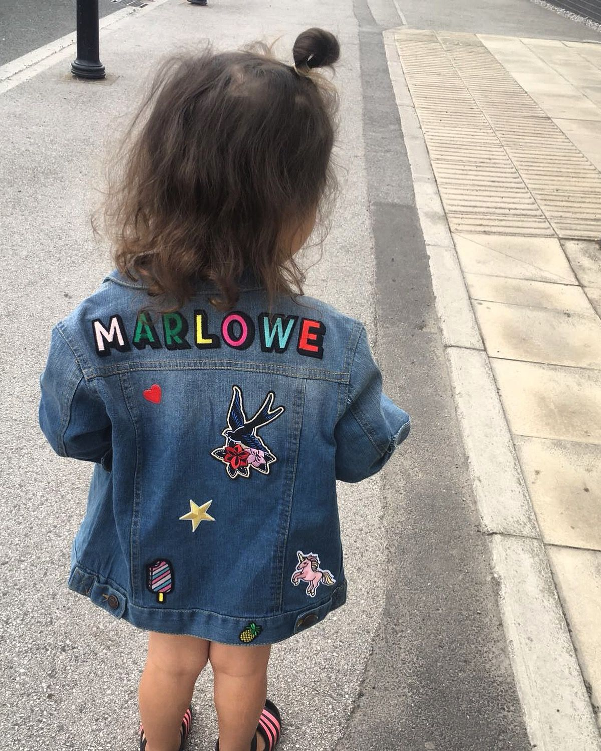 Personalised Splash Name Organic Baby Toddler Denim Jacket Custom Girl Boys