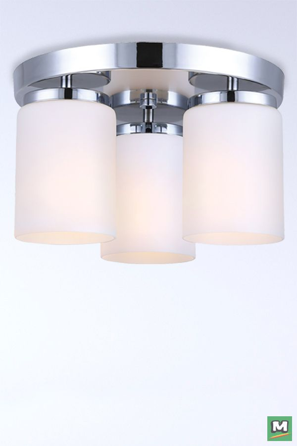 Patriot Lighting 174 Bulvi Flush Mount Ceiling Light With Chrome Finish And Flat Opal Glass