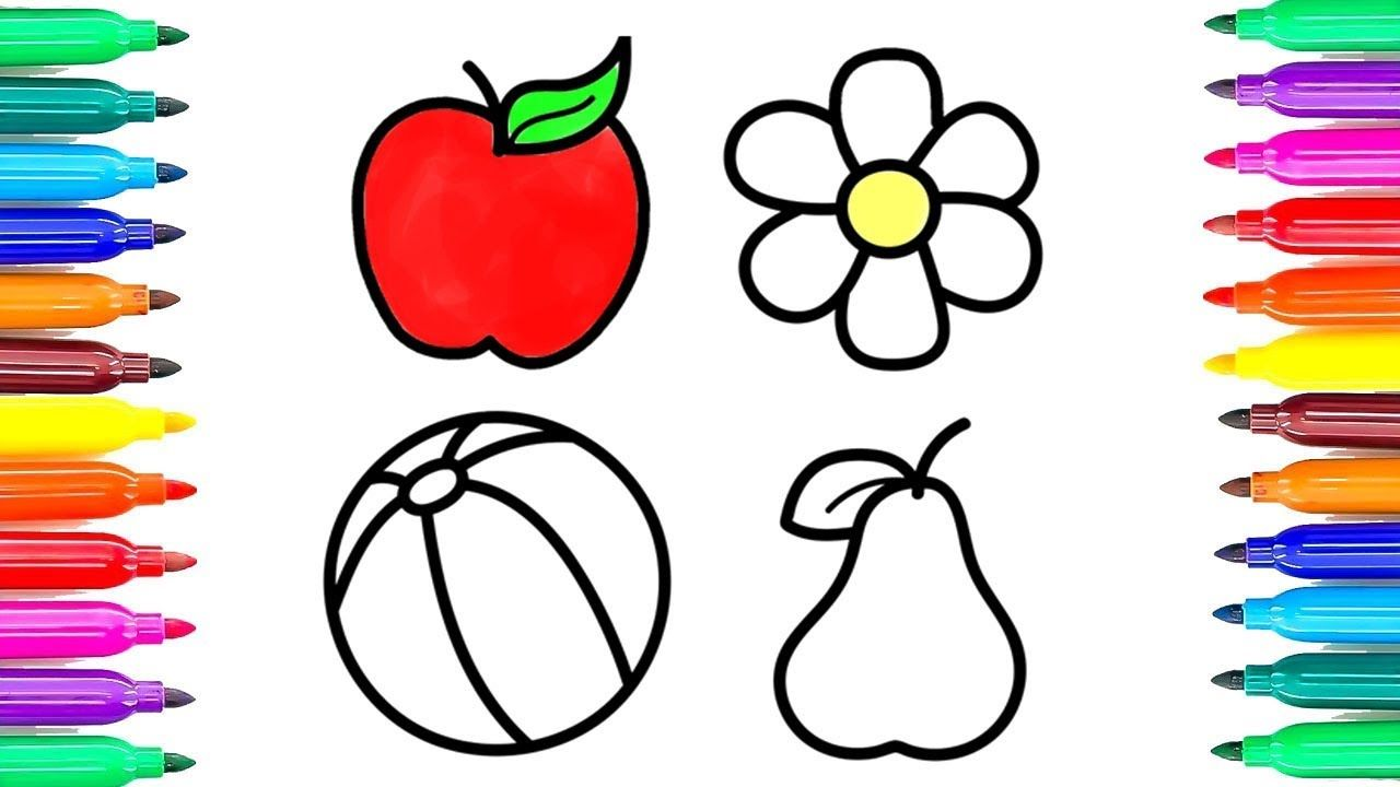 Fruits and Flower Coloring Pages | How to Draw Fruits, Apple ...