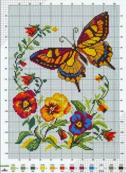Photo of Butterfly – Free Cross Stitch Pattern  Theses are several beautiful and colorful…