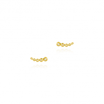 Water lily Five Zirconia Ear Studs Gold