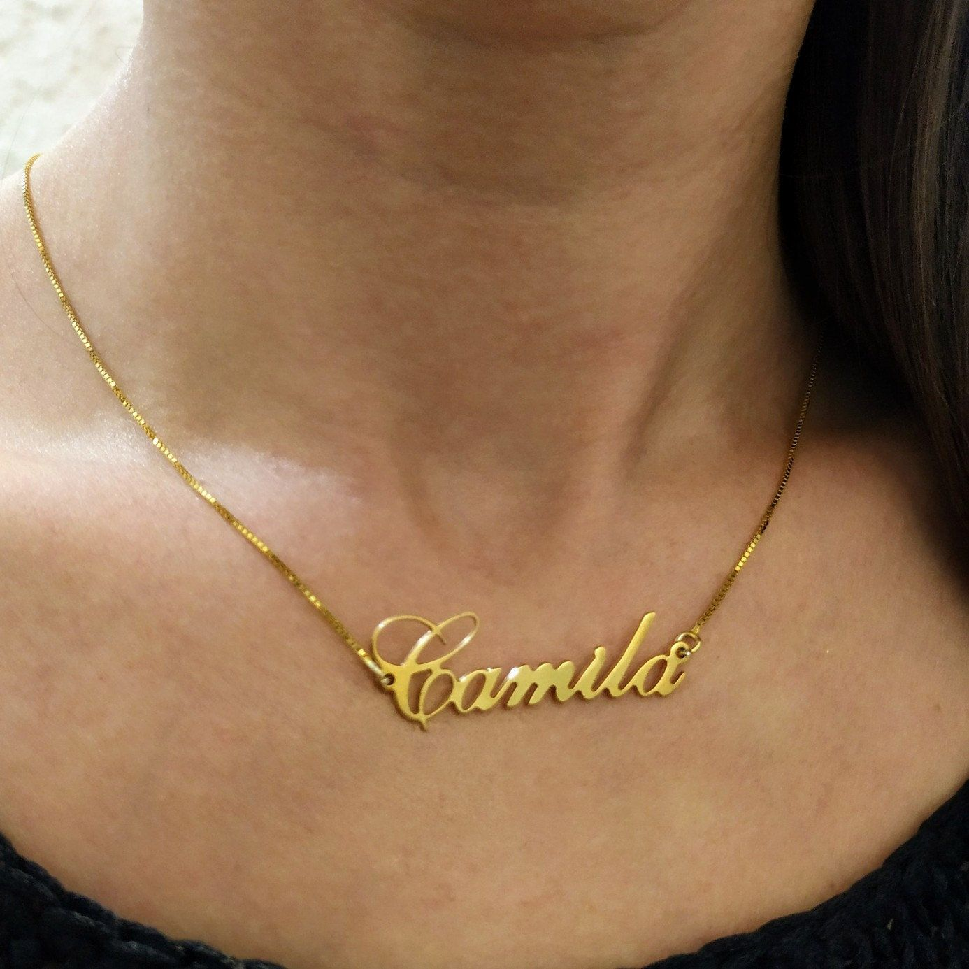 Personalised Name Necklace Gold Plated on Silver Carrie Style with Crystal Unique Gift Idea for Daughter Sister Wife for Her ANY NAME