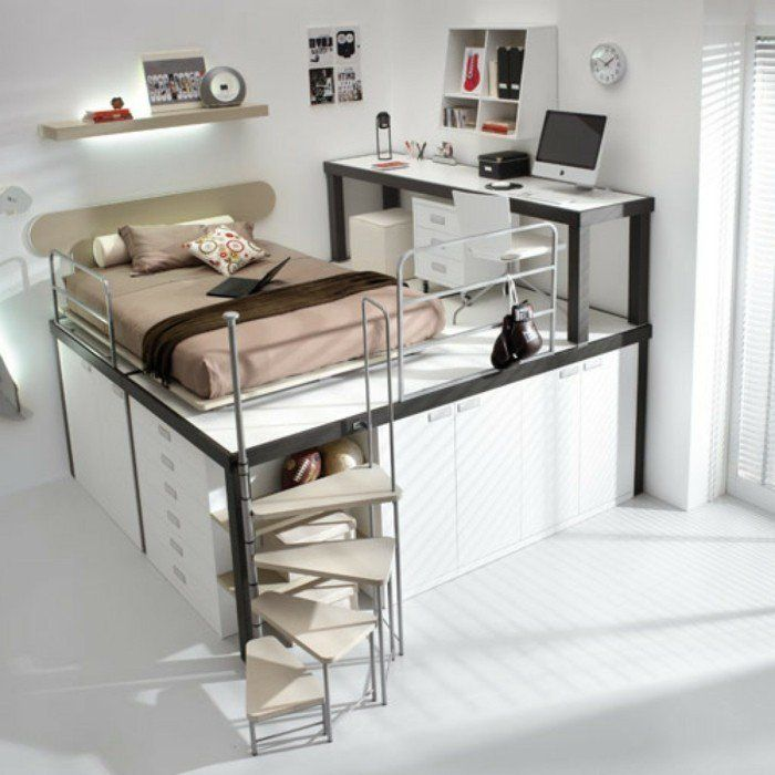 kinderzimmer hochbett funktional schubladen coole treppen. Black Bedroom Furniture Sets. Home Design Ideas