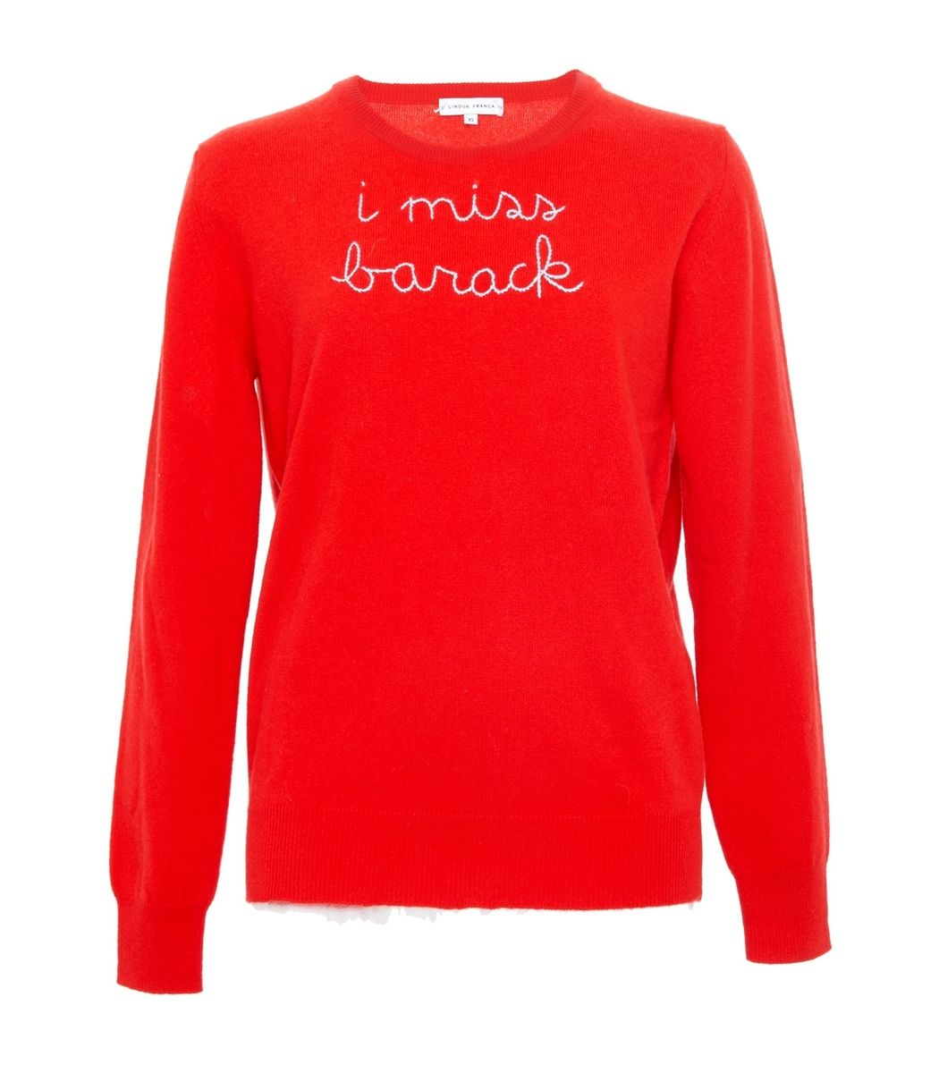 Lingua Franca I Miss Barack Embroidered Cashmere Sweater - Red ...