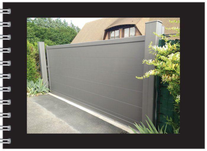 Portail coulissant aspect un vantail finition gris sabl ral 2900 pos gisors dans l 39 eure for Pose portail aluminium battant