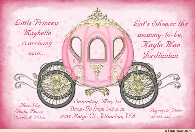 Princess Parade Baby Shower Invitation Carriage Pink Fairy Dust