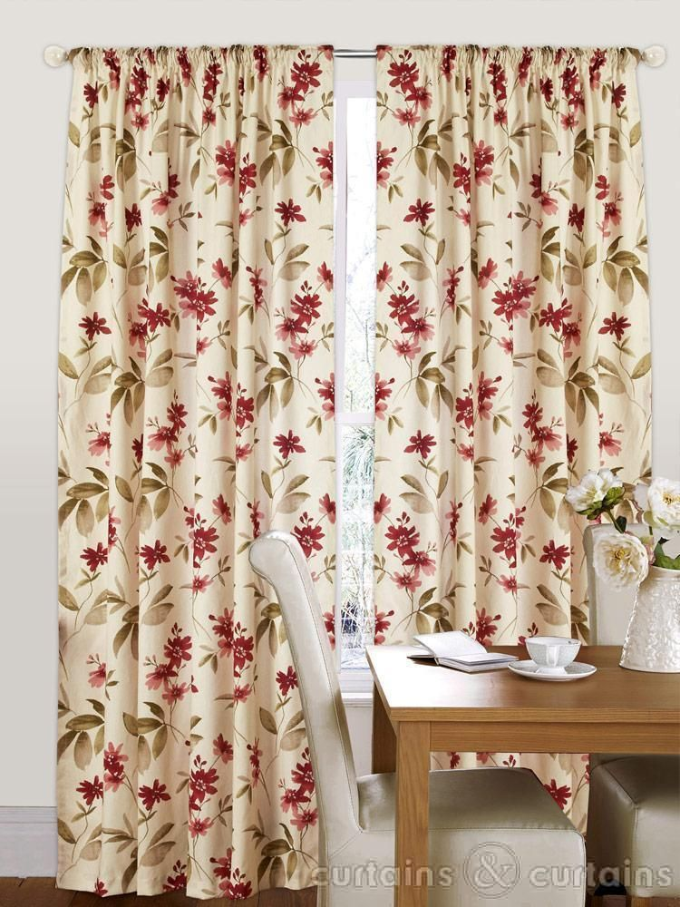 Amazon Red Amp Cream Floral Pencil Pleat Curtains Vintage