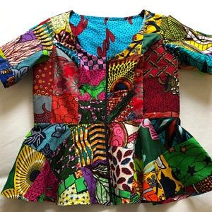 Sleeveless African Wax Print Patchwork Peplum Shirt 100% Cotton