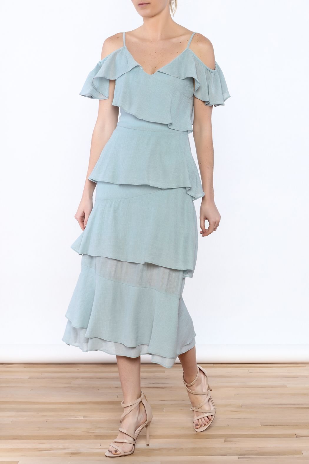 Endless rose frill out dress wedding wear cold shoulder and ruffles