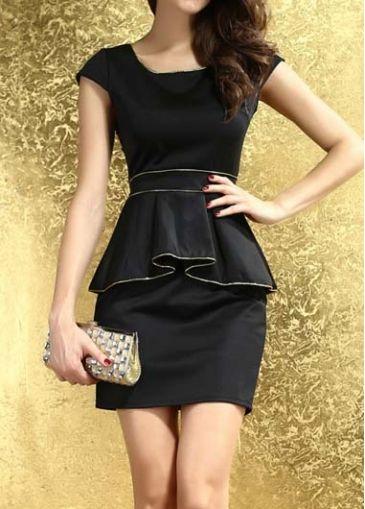 Vogue Solid Black Cap Sleeve Round Neck Peplum Dress on sale