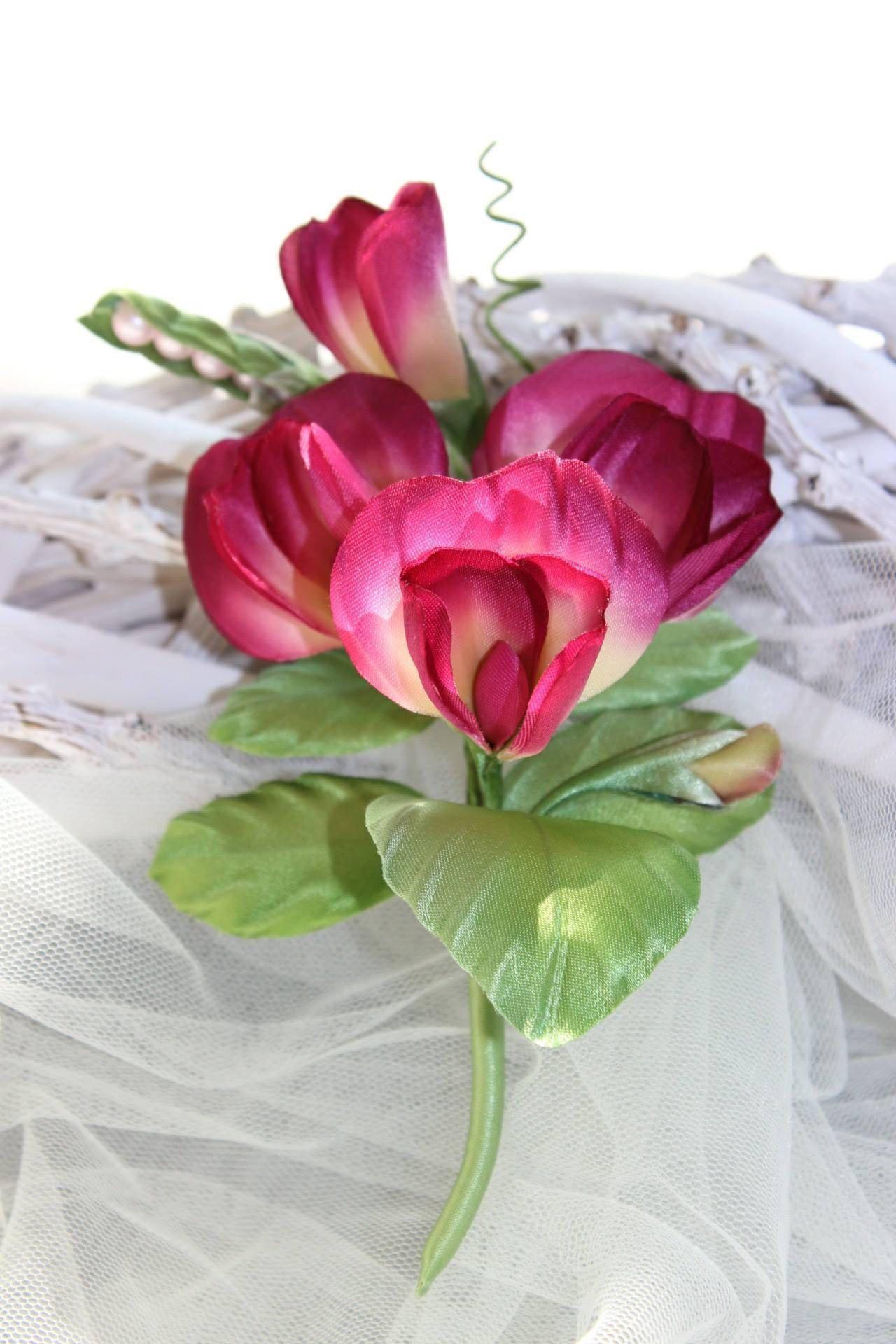 Sweet Pea Silk Flower Spray Silk Flower Brooch Marsala Groom