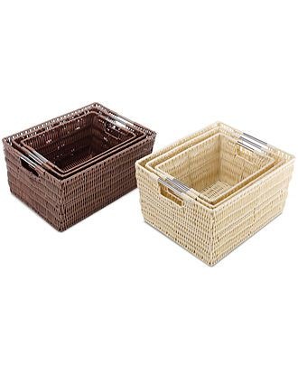 Whitmor Storage Baskets, Set of 3 Rattique - Home Organization - for the home - Macy's