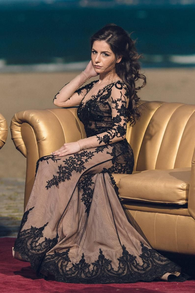 Black mother of the bride dress, Lace evening gown. Long