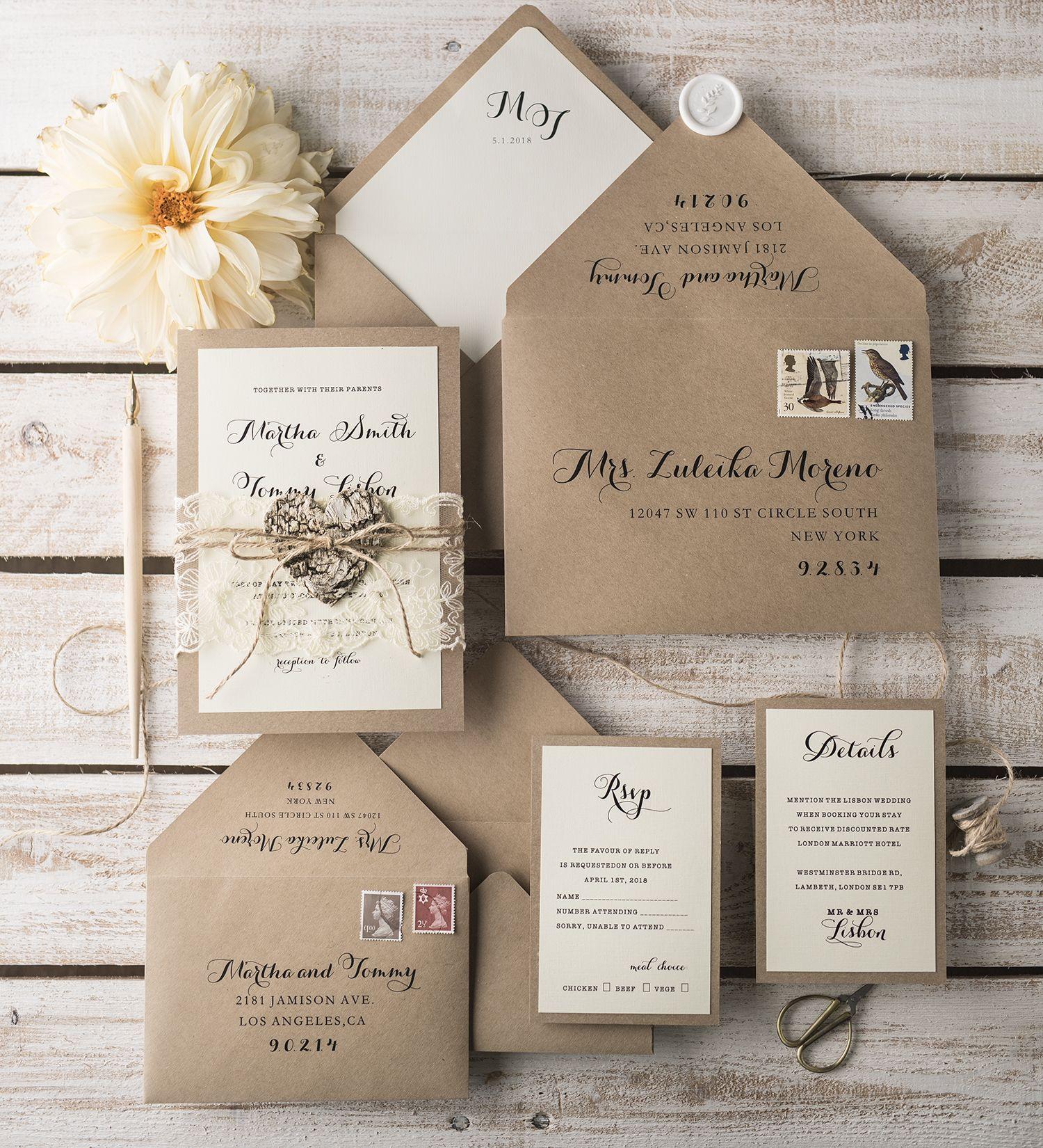 Cheap Rustic Wedding Invitations: Wedding Invitations Personalised Cheap 02/rus1/z In 2019