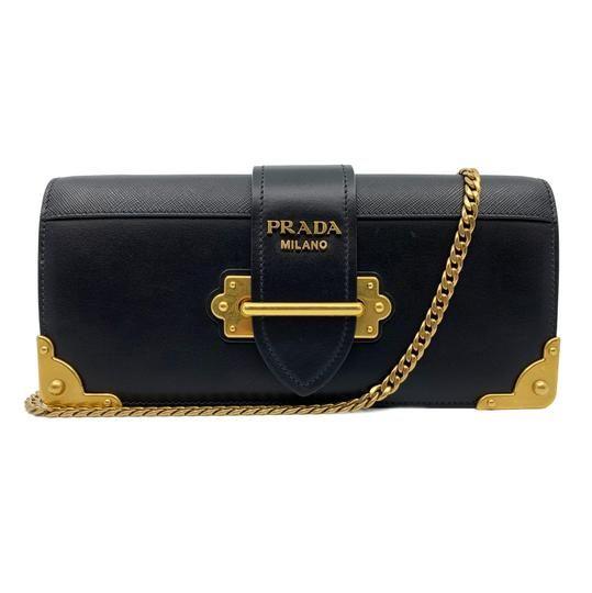 a40d5cb59358e7 Prada Cahier Leather Crossbody Ladies Black Calf Saffiano Clutch - Tradesy